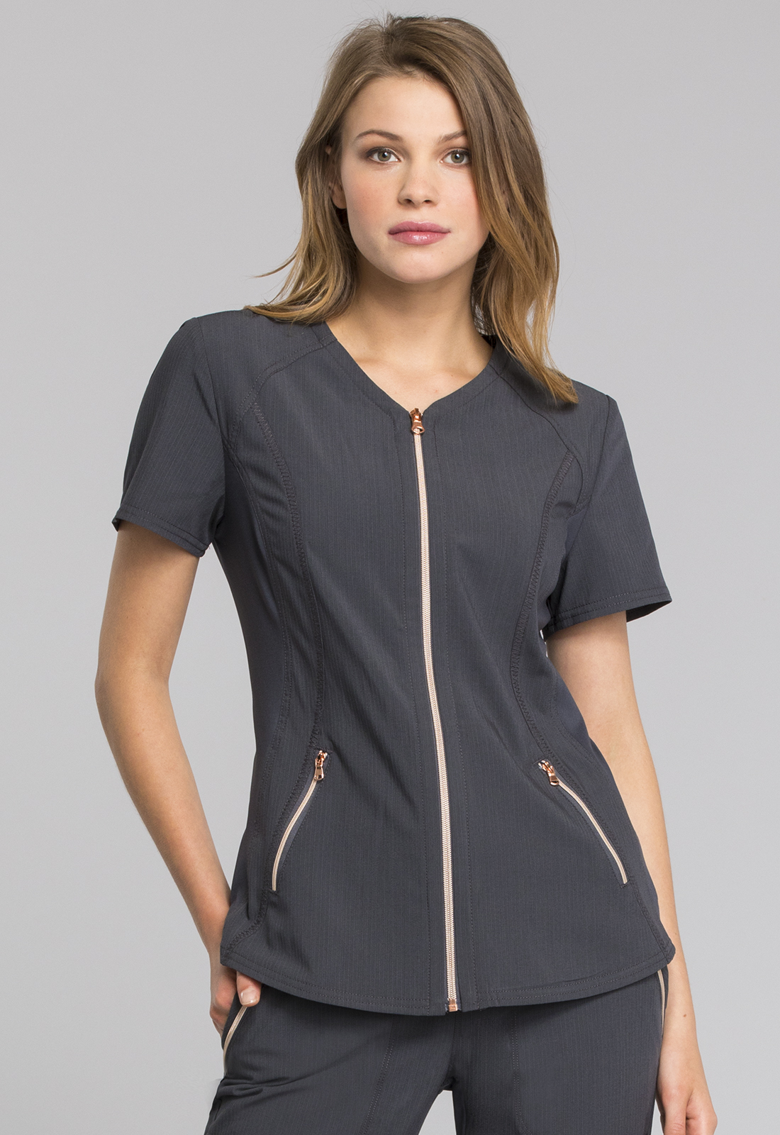 V-Neck Zip Front Top