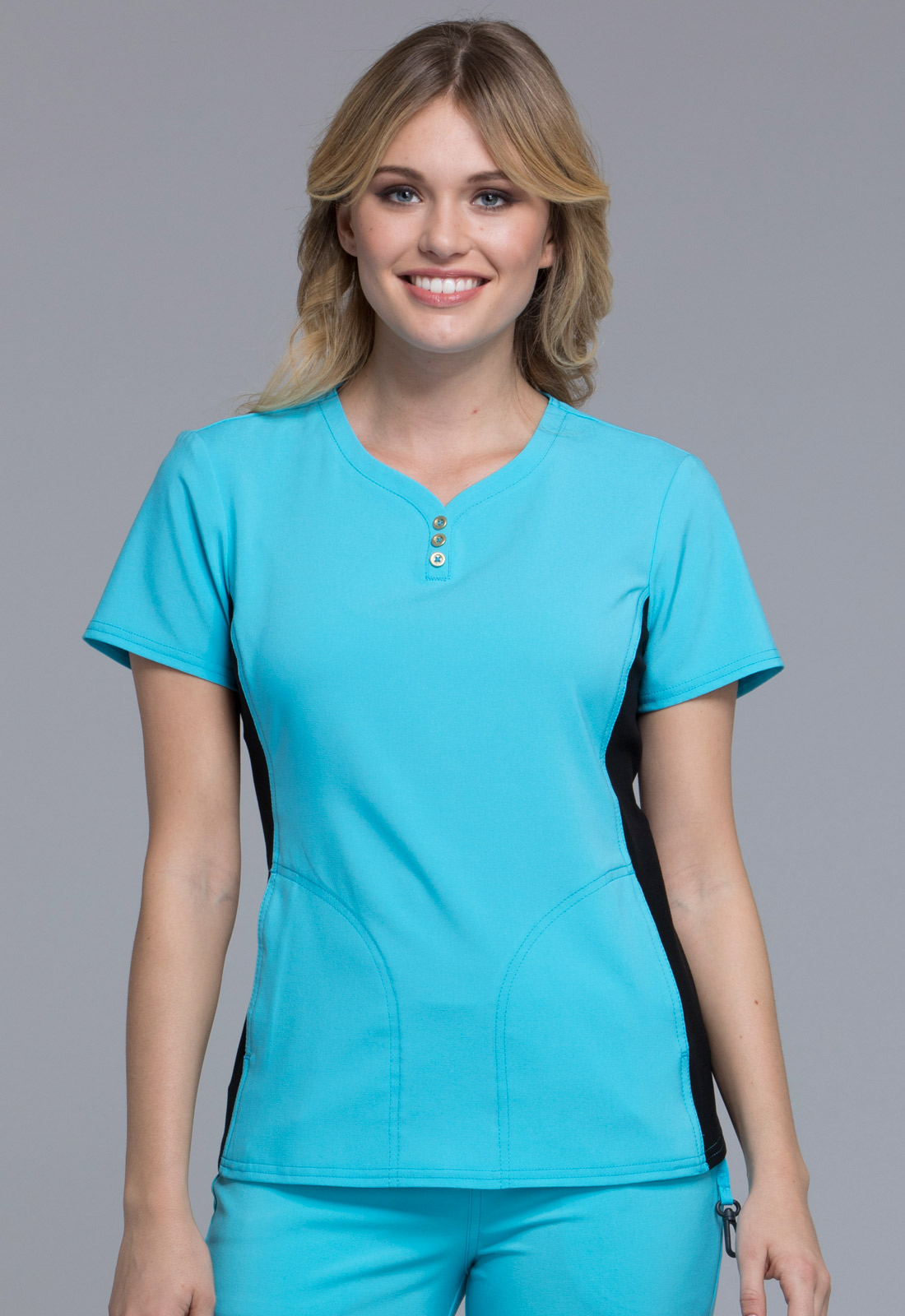 V-Neck Button Placket Top